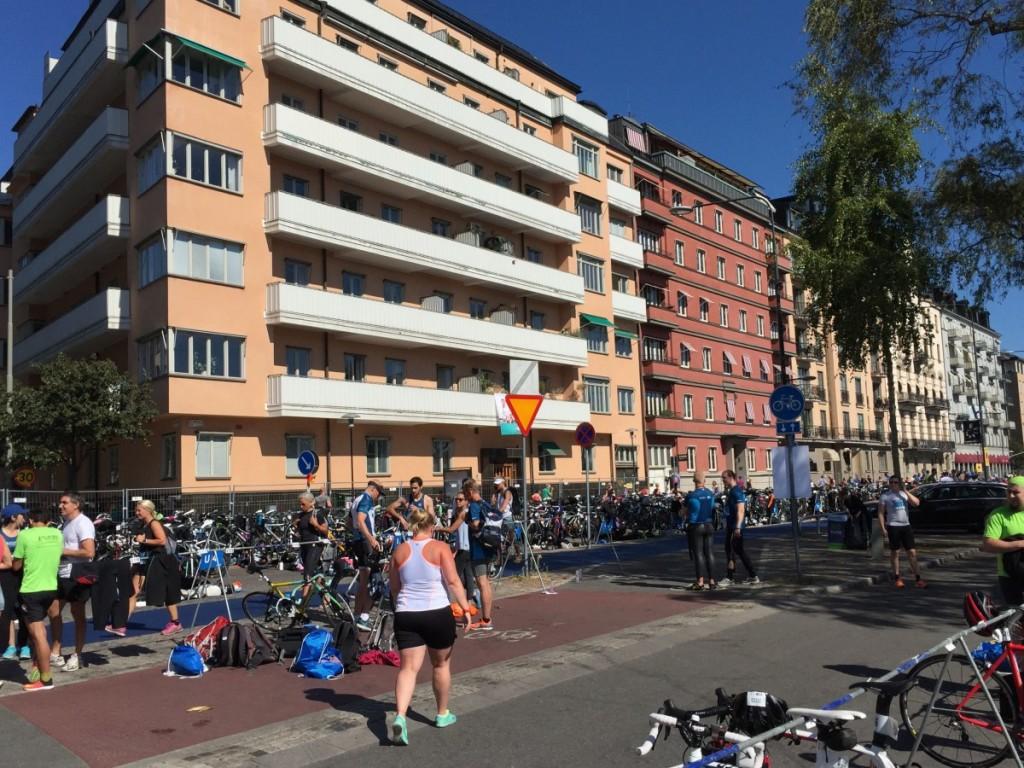 Många cyklar var det i växlingszonen.